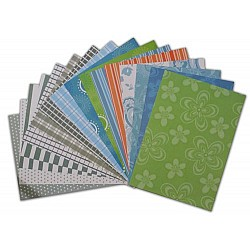 Assorted 12X12 Paper Pack - W&M Green (Set of 32 sheets)