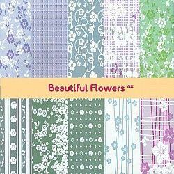 Assorted 12x12 Paper Pack - Beautiful Flowers NX (Set of 40 sheets)
