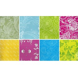 Assorted 12x12 Paper Pack - Floral Green (Set of 24 sheets)