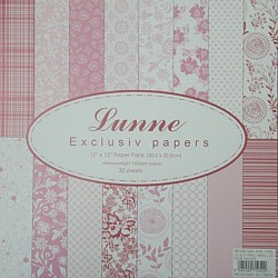 Assorted 12x12 Lunne Paper Pack - Pink (Set of 32 sheets)