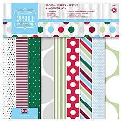"""Papermania Capsule Collection 8by8"""" Paper Pack - Spots & Stripes"""