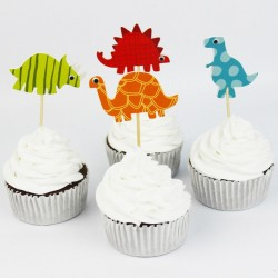 Cake Toppers - Colorful Dinosaurs (Pack of 24)