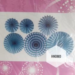 Paper Fan Decorations (Party Essentials) - Blue Fans
