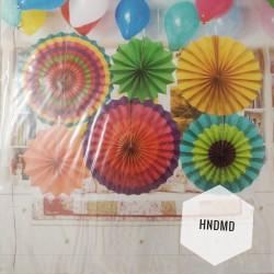 Paper Fan Decorations (Party Essentials) - Bright Fans