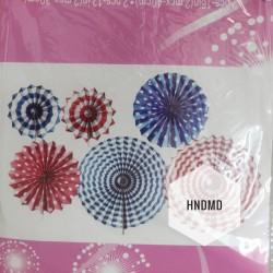Paper Fan Decorations (Party Essentials) - Red Blue Fans