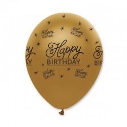 Golden Happy Birthday Balloons (10 pcs)