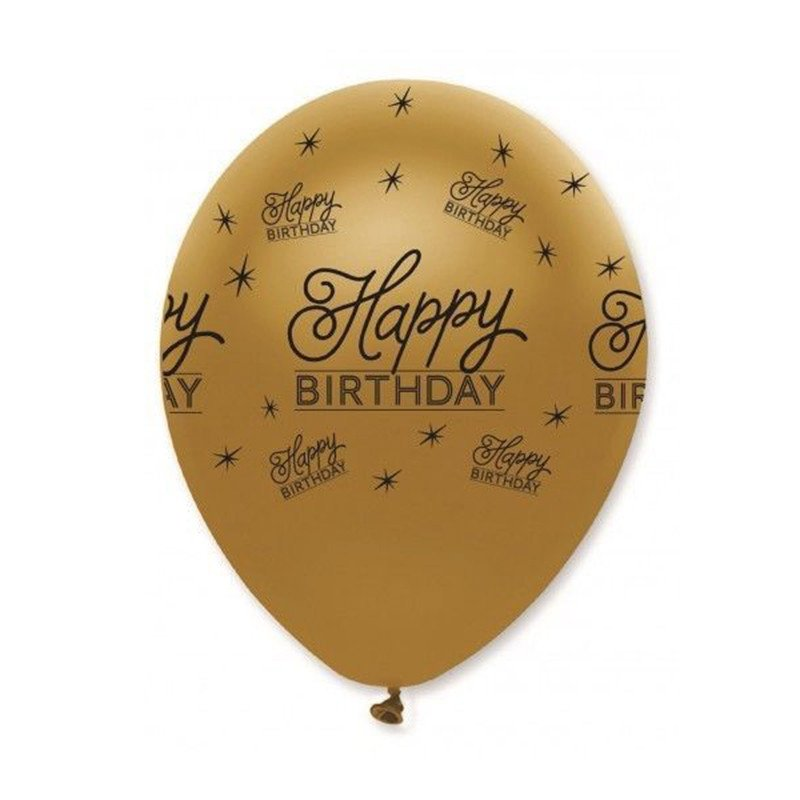 Golden Happy Birthday Balloons 10 Pcs