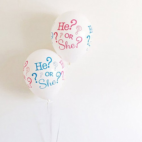He or She Baby Gender Reveal Balloons (10 pcs)