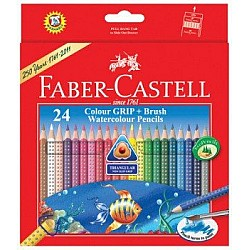 Faber Castell Colour Grip Watercolour Pencils With Brush (Pack of 24)