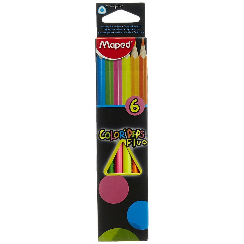 Buy Maped Fluo Colorpeps 6 Colour Pencils Online In