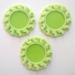 Resin Circular Cameo Frame (1.5 inch) - Design 1 - Green
