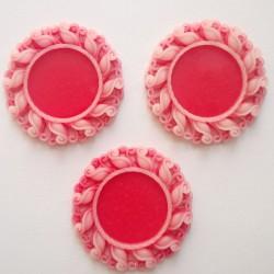 Resin Circular Cameo Frame (1.5 inch) - Design 1 - Red
