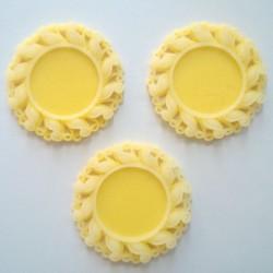 Resin Circular Cameo Frame (1.5 inch) - Design 1 - Yellow