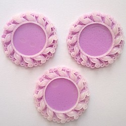 Resin Circular Cameo Frame (1.5 inch) - Design 1 - Purple