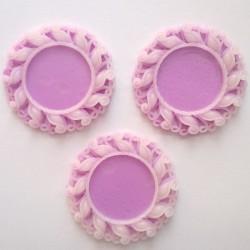 Resin Circular Cameo Frame (1.5 inch) - Design 1 - Purple