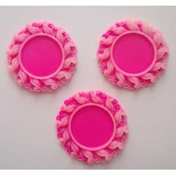 Resin Circular Cameo Frame (1.5 inch) - Design 1 - Pink