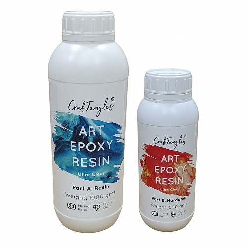 CrafTangles Epoxy Art Resin Ultra Clear - 1500 gm (Resin and Hardener)