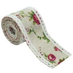 Floral Printed Jute Ribbon (J5CB0070)
