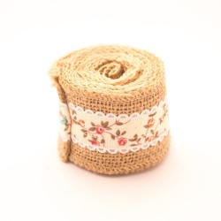 Floral Jute or burlap Ribbon