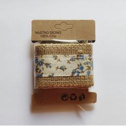 Printed Jute Ribbon - Blue florals (J5FC0060-01)