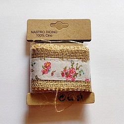 Printed Jute Ribbon - Pink and blue florals (J5FC0060-05)