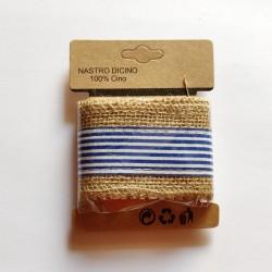 Printed Jute Ribbon - Blue striped (J5FC0060-09)