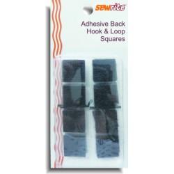Sewrite Adhesive Back Hook & Loop Squares - Black