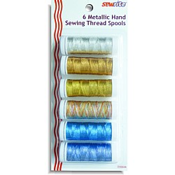 Sewrite Polyester Metallic Thread - 50 Yards of 6 Spools (assorted)