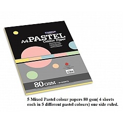 CAMPAP 1 side ruled pastel 5 mixed colour paper pack A4( 4 sheets per colour) - Pack of 2