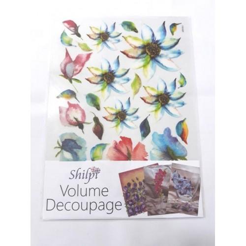 Shilpi Transparent Sospeso / Volume Decoupage Sheet - Blue Florals