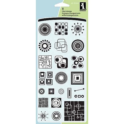 Inkadinkado Clear Stamps- Circles and Squares Inchie (23 Stamps)