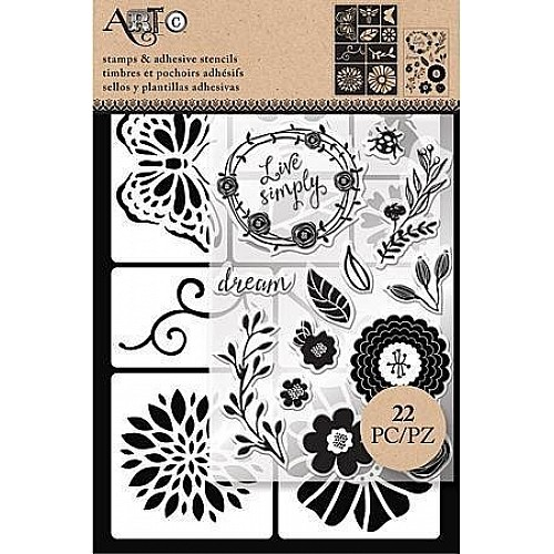 Art C Stamp and Stencil Set - Floral