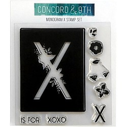 """Concord & 9th Clear Stamps 4""""X4"""" - Monogram X"""