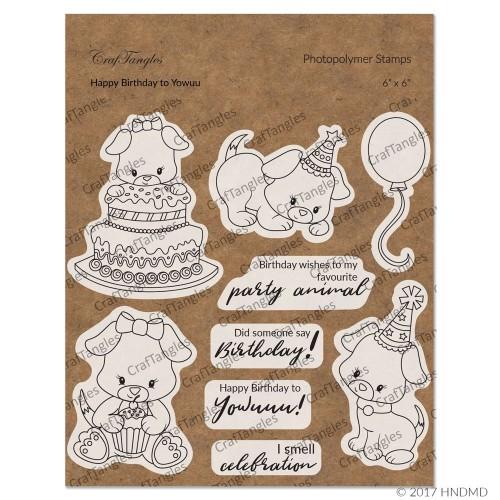 CrafTangles Photopolymer Stamps - Happy Birthday to Yowuu