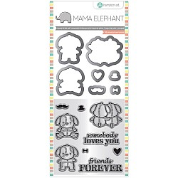 Mama Elephant Stamp and Die Set - Love Puppy