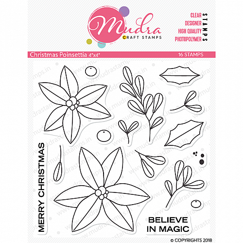 Mudra Craft Stamps - Christmas Poinsettia