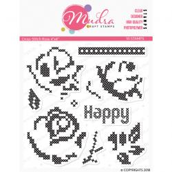 Mudra Craft Stamps - Cross Stitch Rose