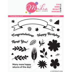 Mudra Craft Stamps - Floral Banner