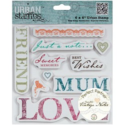 """Papermania Vintage Notes Urban Stamps 6""""X6"""""""