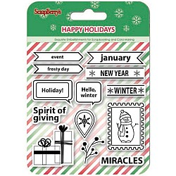 "ScrapBerry's Happy Holiday Clear Stamps 4""X4"" (SCB4906004B)"