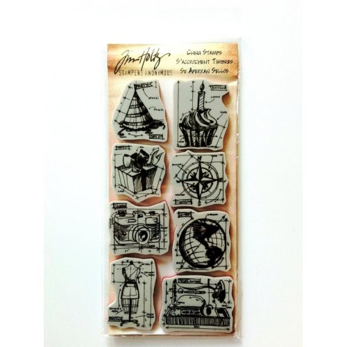 Tim Holtz Cling Stamps - Blueprint Assortment
