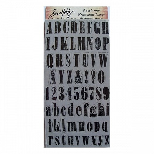 Tim Holtz Cling Stamps - Mini Worn Text