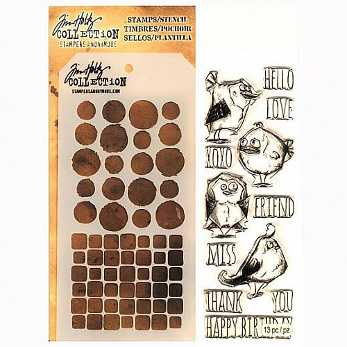 Tim Holtz Stamp and Stencil Set - Crazy Birds