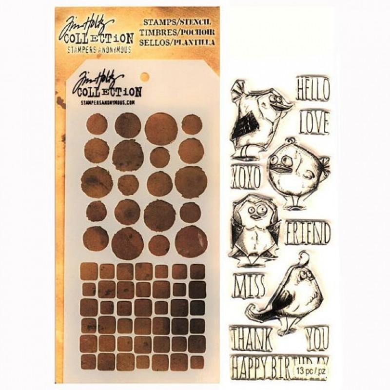 Tim Holtz Stamp And Stencil Set