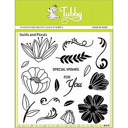 Tubby Photopolymer Clear Stamps - Swirls and Florals