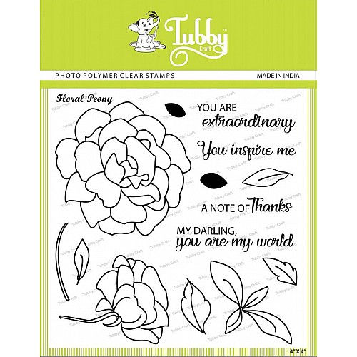 Tubby Photopolymer Clear Stamps - Floral peony