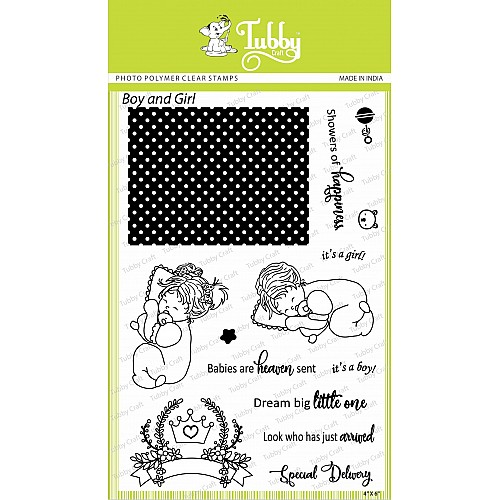 Tubby Photopolymer Clear Stamps - Boy and Girl