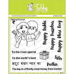 Tubby Photopolymer Clear Stamps - Sibling Love
