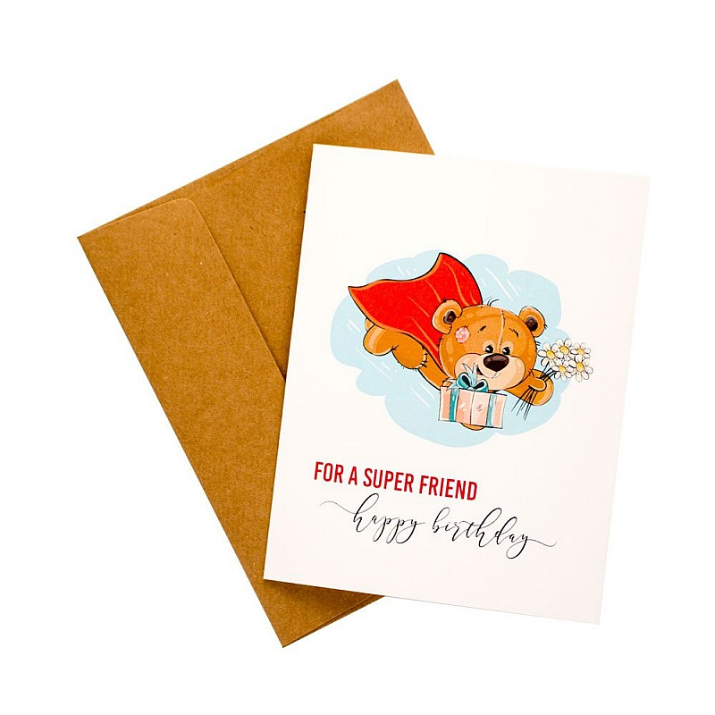 Buy Super Friend Birthday Printed Greeting Card Online In India At