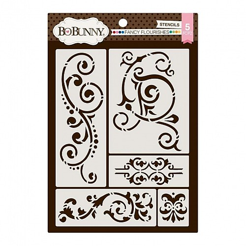 "BoBunny Essentials Thick Stencils 9.5""X6.5"" Fancy Flourishes"